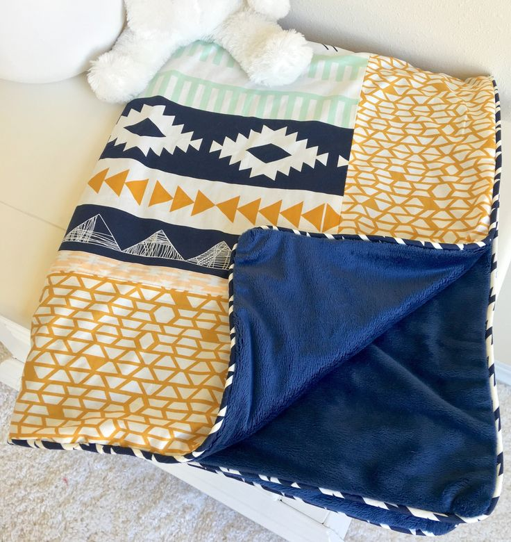 Mint Navy and Gold Aztec Crib Bedding
