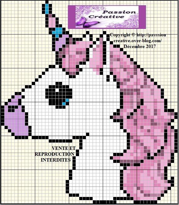 Grille gratuite point de croix : Portrait d'une licorne | Point de croix, Couture facile patron ...