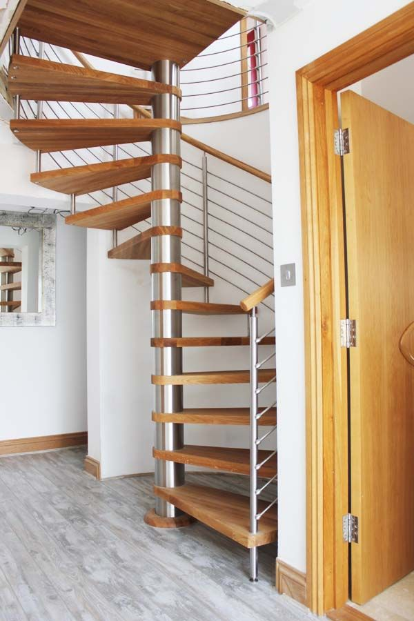 Beautiful Spiral with horizontal stainless steel rails.