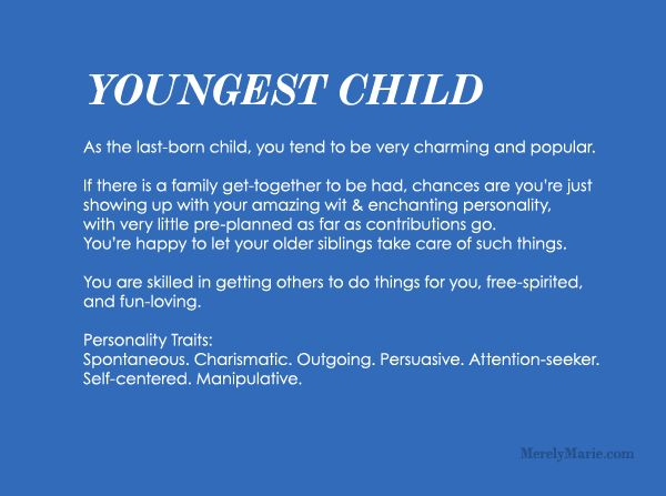 Discover your birth order personality! Youngest Child Personality...