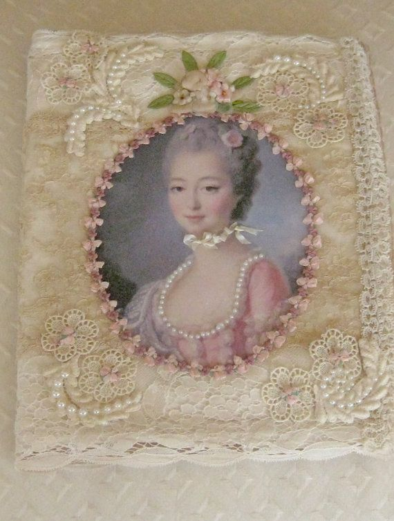 One of a Kind Farbric Album - Antique & Vintage Laces and Trims - Spaces for Photos - French Ladies
