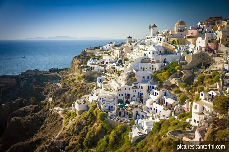 Oia in the afternoon light. This picturesque village is the number one tourist attraction on Santorini.