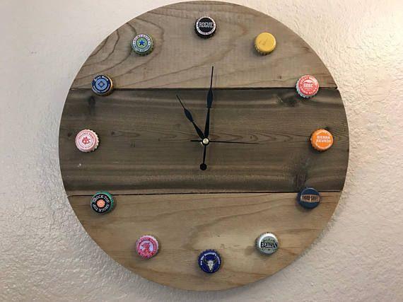 Wood Craft Beer Clock Beer Bottle Cap Clock Craft Beer Clock Beer Clock Beer Accessories Recycle Bottle Caps
