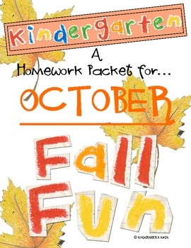 This packet is intended to be copied and sent home with kindergartners as a monthlyhomework packet during the month of October.