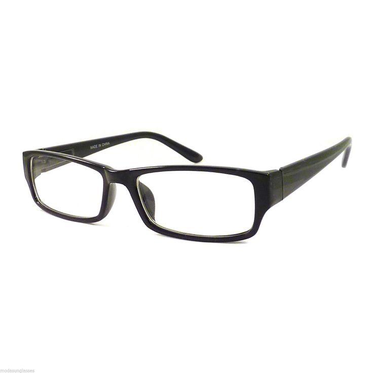 Vintage Nerd Rectangular Frame Men Women Eyewear Clear Lens Eye Glasses Black | eBay