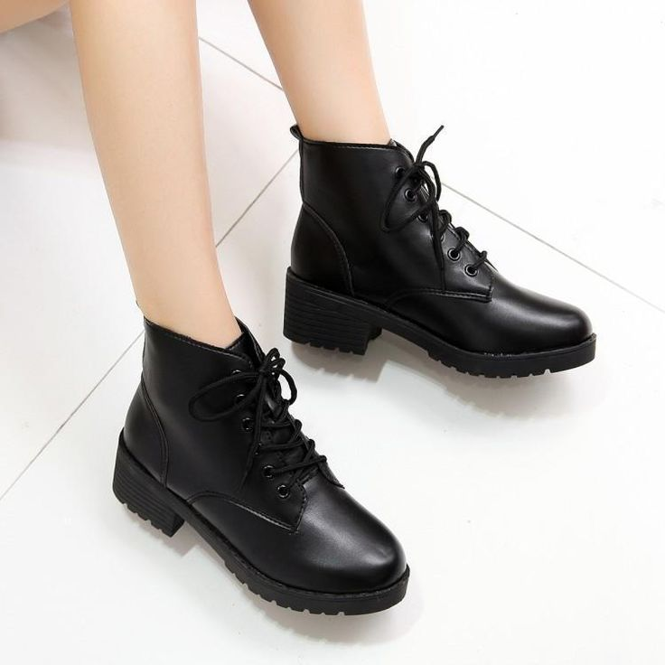 Casual Winter Womens Riding Boots Ankle Boots Round Toe Lace Up Shoes Punk