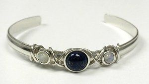 Sterling Silver Hand Made Cuff with Genuine Blue Goldstone Accented with Rainbow Moonstone Silver Dragon-Bracelets. $58.00