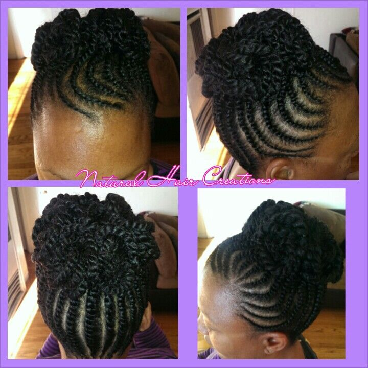 Flat twist updo natural hair  Black Hair Braid Styles
