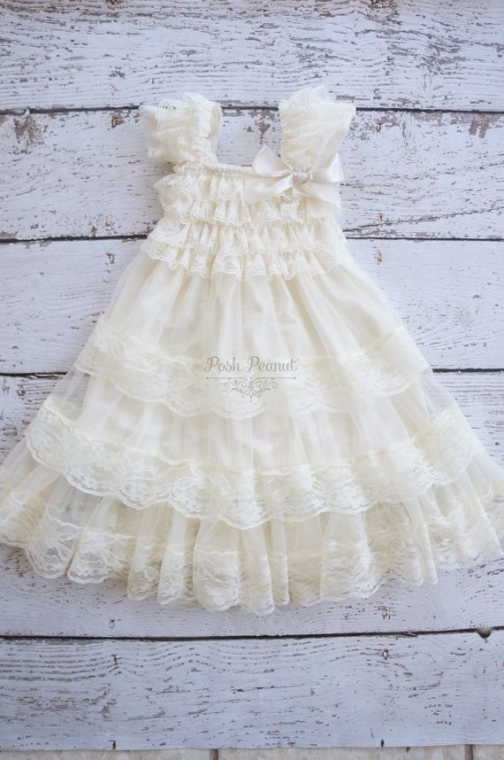 ivory flower girl dress lace flower girl dress by PoshPeanutKids