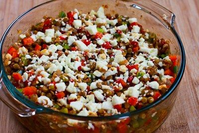 Kalyn's Kitchen®: Vegetarian Greek Lentil Casserole Recipe with Bell Peppers and Feta           /////Christmas Eve/////
