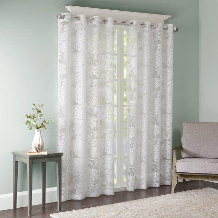 Home Essence Maui Palm Leaf Burnout Window Sheer, White