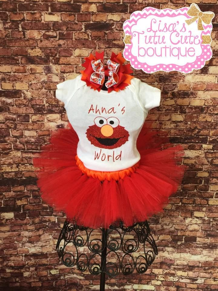 Elmo tutu outfit. Personalized Elmo's World Tutu Set. Birthday photos. Birthday tutu set. Party tutu. by LisasTutus on Etsy