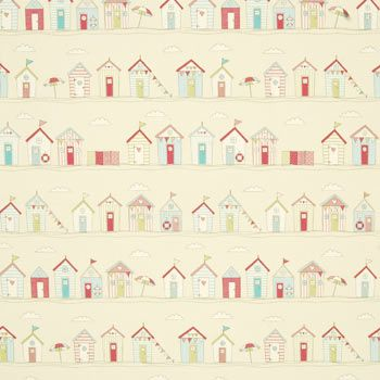 Beach Huts PVC Curtain Fabric
