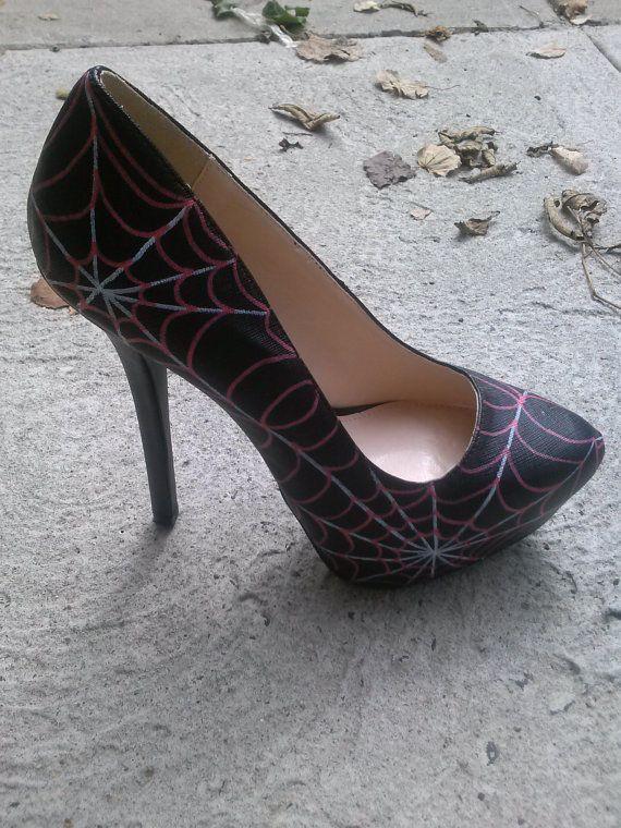 Hand Painted Spider Web Heels / Halloween Heels by WiseGalCustoms