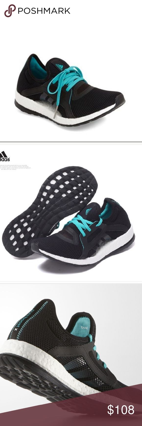 ADIDAS PURE BOOST X Black Teal Laces Womens 5 1/2 ADIDAS PURE BOOST X Black Teal Laces Womens 5 1/2. New Unworn with no OG Box. ADIDAS Shoes Athletic Shoes
