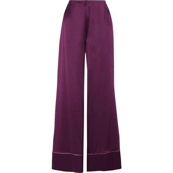 ROKSANDA  Oldridge silk-satin wide-leg pants (138.190 HUF) ❤ liked on Polyvore featuring pants, roksanda, pastel purple pants, wide leg trousers, wide leg pants and pastel pants