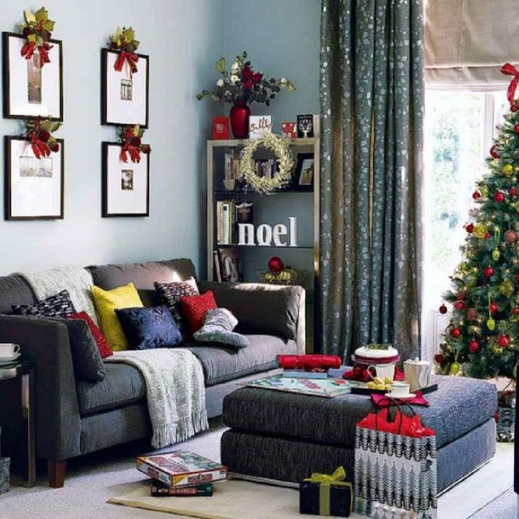 Living Room, Captivating Christmas Living Room Decorating With Black Puffy Sofabeds And Christmas Tree In The Corner Also Black Puffy Table Design Ideas To Inspire You Black: Christmas Living Room Decorating Ideas