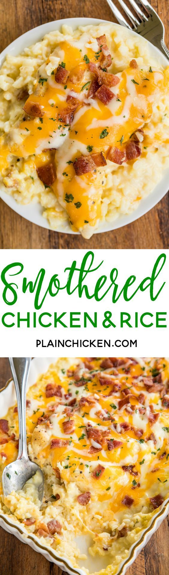 Smothered Chicken and Rice - seriously delicious! Everyone cleaned their plate and asked for seconds! That never happens at our house!!! Chicken and rice baked in cream of chicken soup, milk, cheddar, mozzarella and bacon. Ready to bake in a snap and on the table in 30 minutes. We make this at least once a month!! SO GOOD!! : plainchicken