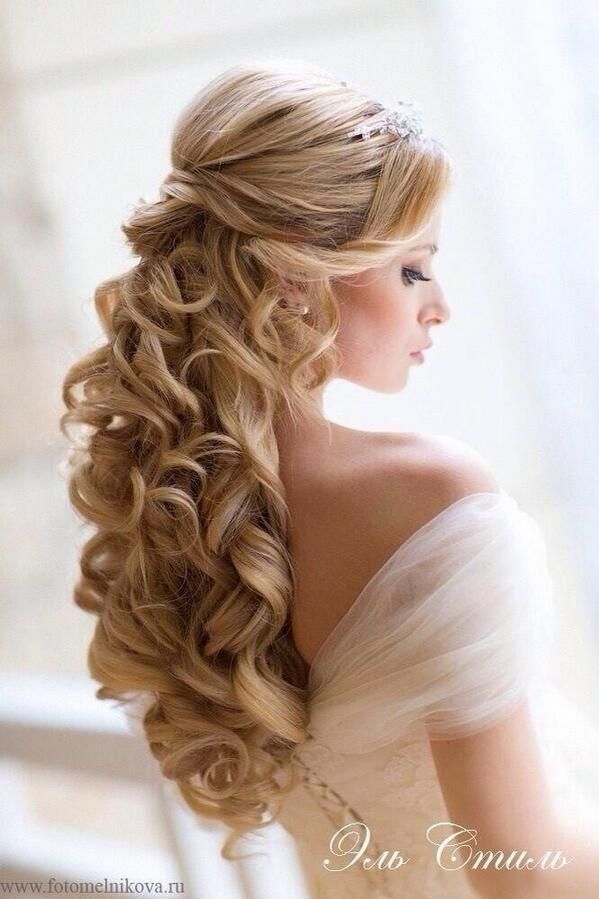Beautiful wedding hair | Long hair | Curls | Simplyelegantforyou.com