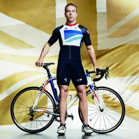 Cyclist Chris Hoy models the British kit for the London 2012 Olympics designed by Stella McCartney. Add Around The Rings on www.Twitter.com/AroundTheRings & www.Facebook.com/AroundTheRings for the latest info on the Olympics.