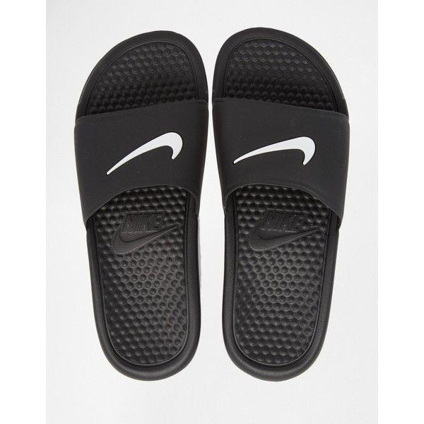 Nike Black Benassi Pool Slider Flat Sandals (£16) ❤ liked on Polyvore featuring shoes, sandals, nike shoes, slip on sandals, flat shoes, black strappy shoes and black slip on sandals