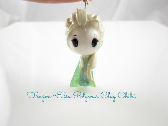 This adorable Elsa polymer clay chibi from the recent Disney movie Frozen is the perfect gift for any occasion.    It is made of Sculpey Bake