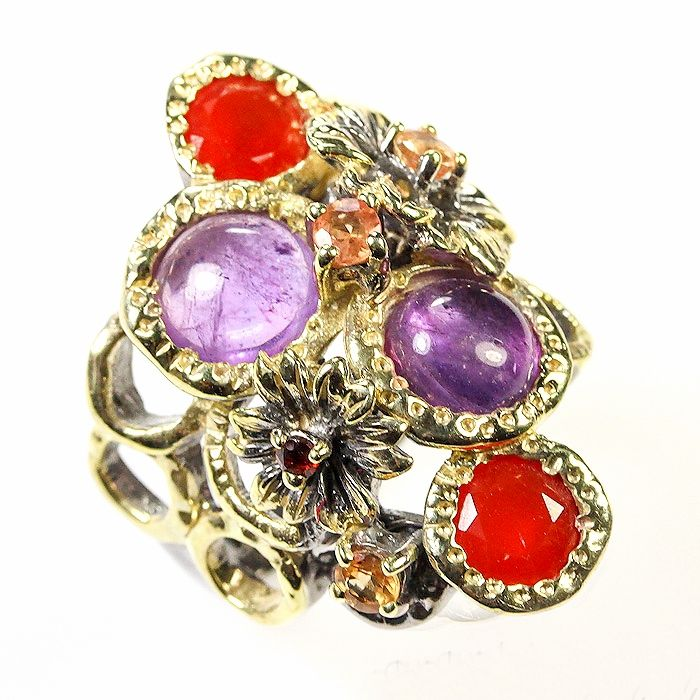 Unique !! 925 Silver Designer ring with Carnelian, Amethyst, Sapphire and Garnet SZ 7.25 ... Unikat !! 925 Silber Designer Ring mit Karneol, Amethyst, Saphir & Granat GR 55