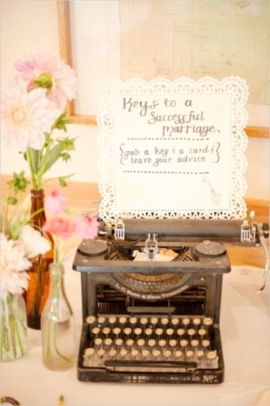 Vintage wedding decor- Type writers are a great idea! Why not print on some vintage postcards to give a nautical feel!