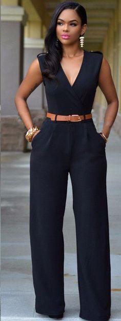 2016 women loose slim casual Jumpsuit with belt Deep V-neck top straight romper Item