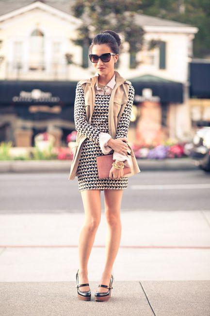 Top :: Michael Kors vest, H&M dress, Madewell shirt  Shoes :: Christian Louboutin  Bag :: thanks to Leigh & Luca