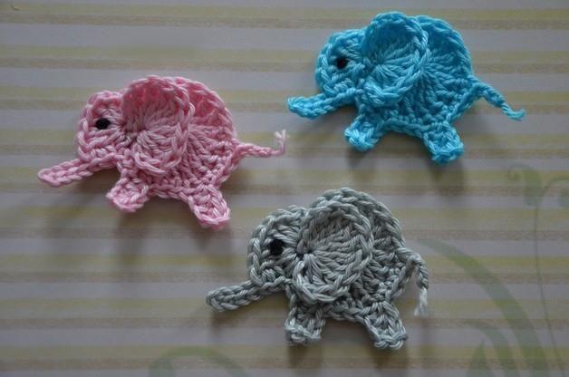 Cute Little Elephants | Appliques | Crochet patterns