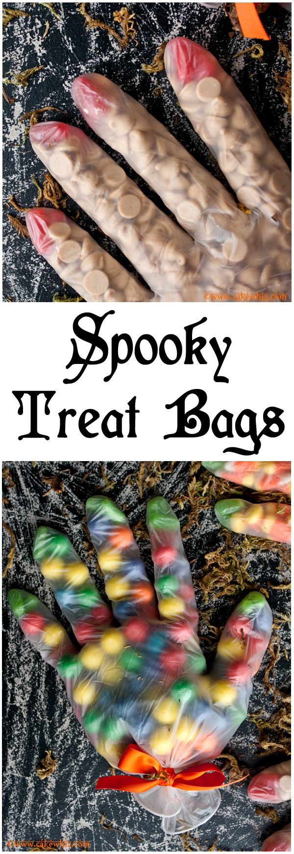 Fun HALLOWEEN GLOVE TREAT BAGS. Fill them with candy corn or gumballs or whatever you like. So easy to make! From cakewhiz.com