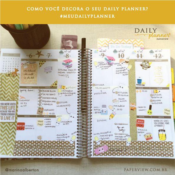 Decorar uma página com adesivos e canetas coloridas, tirar uma foto e compartilhar nas redes sociais! A lista de hashtags falam por si só: #PlannerAddict #PlannerLove #PlannerCommunity #PlannerNerd #Stationery #ListersGottaList Inspire-se e motive-se! www.paperview.com.br Decore o seu e use a hashtag #meudailyplanner #paperview_papelar