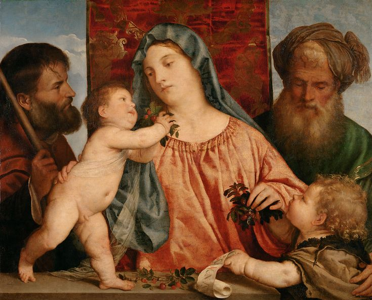Madonna of the Cherries (With Saint Joseph, the Infant Saint John the Baptist and Saint Zechariah) // ca. 1516-1518 // Tiziano Vecellio (Tizian) // Kunsthistorisches Museum // #ChildJesus