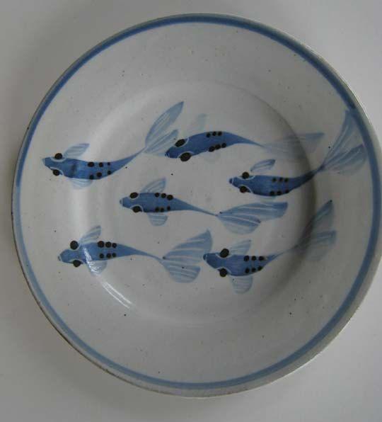 Vintage Simon Pearce Fish Plate, Blue Pottery, Simon Pearce Pottery. $75.00, via Etsy.