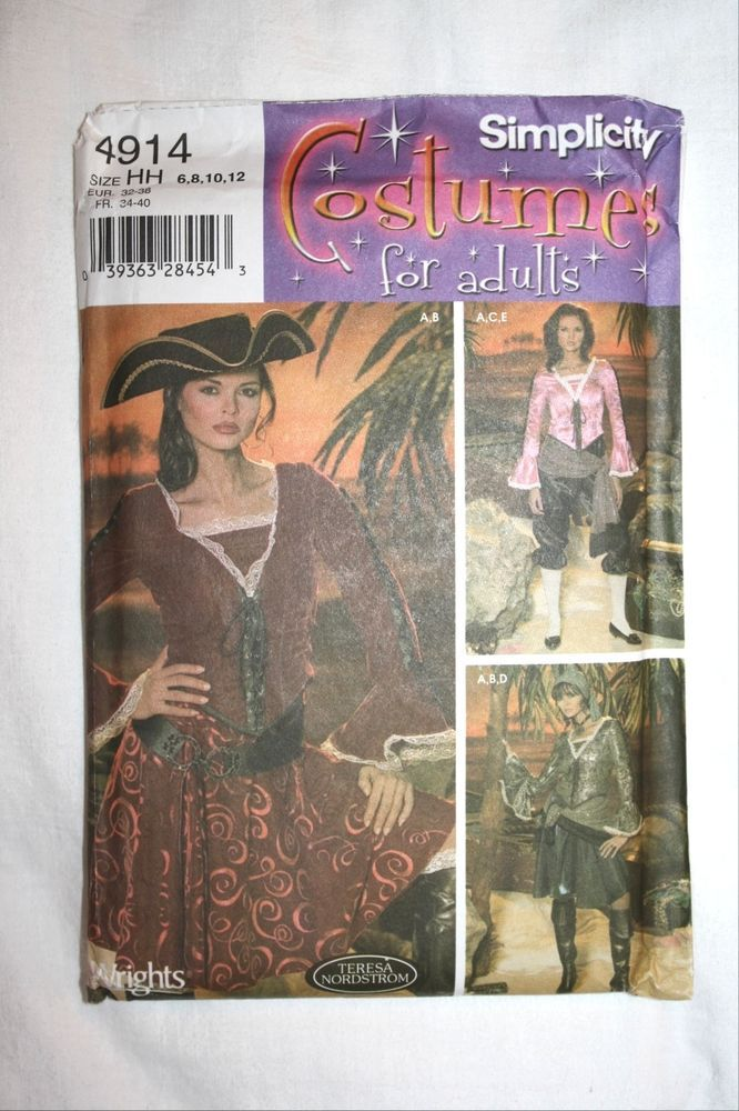 Simplicity Pirate Halloween Costume Gypsy Wench Pattern Uncut 4914 6 8 10 12 #Simplicity