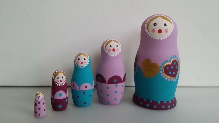 Très jolie Matriochka Cœur , poupée russe,Poupées gigogne 5 pièces : Accessoires de maison par kalinka-malinka