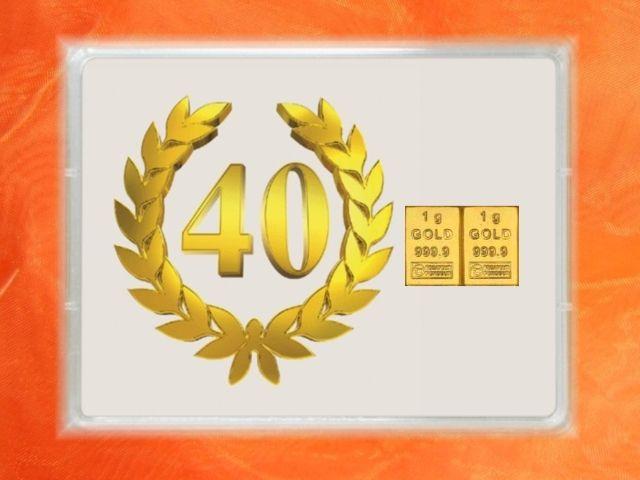 2 g Goldbarren 40 Jahre Jubiläum - oder in 1g & 3,1g (1/10 Unze) bei GP METALLUM verfügbar