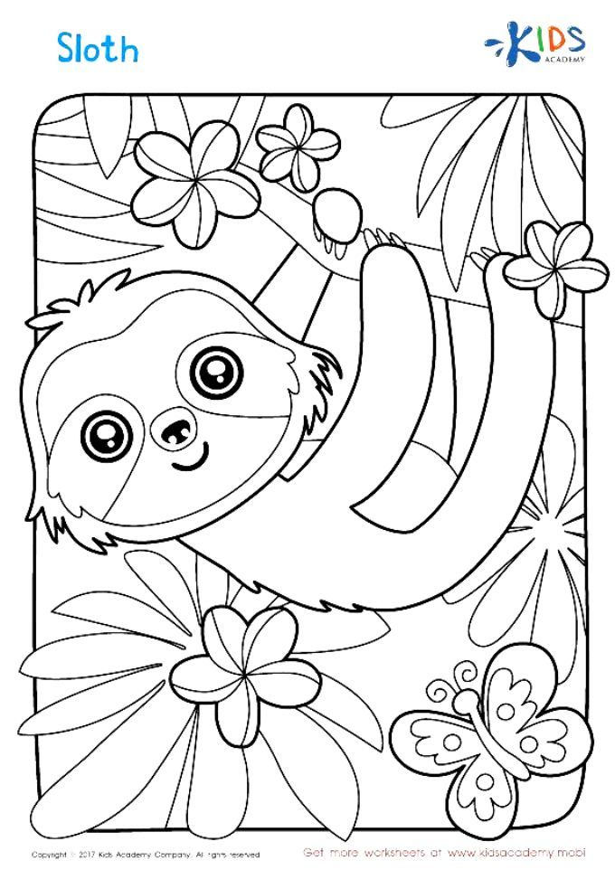 Sloth Coloring Page #Coloring Coloring Pages For Boys, Free Coloring Pages,  Printable Coloring Pages