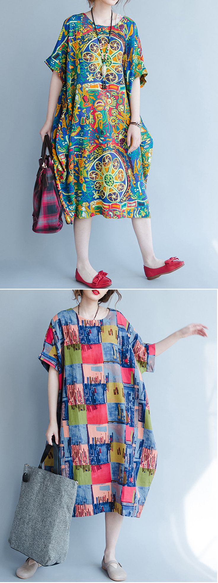 US$27.00 O-NEWE Casual Loose Short Sleeves Printed Dresses For Women