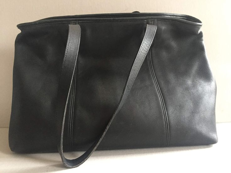 COACH Tote Bag Black Leather #9819 Large Made in Costa Rica by BROCANTEBedStuy on Etsy