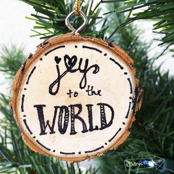Joy to the World Wood Slice Ornament by Jen Goode