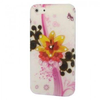 Diamond Flowers TPU Case For iPhone 5