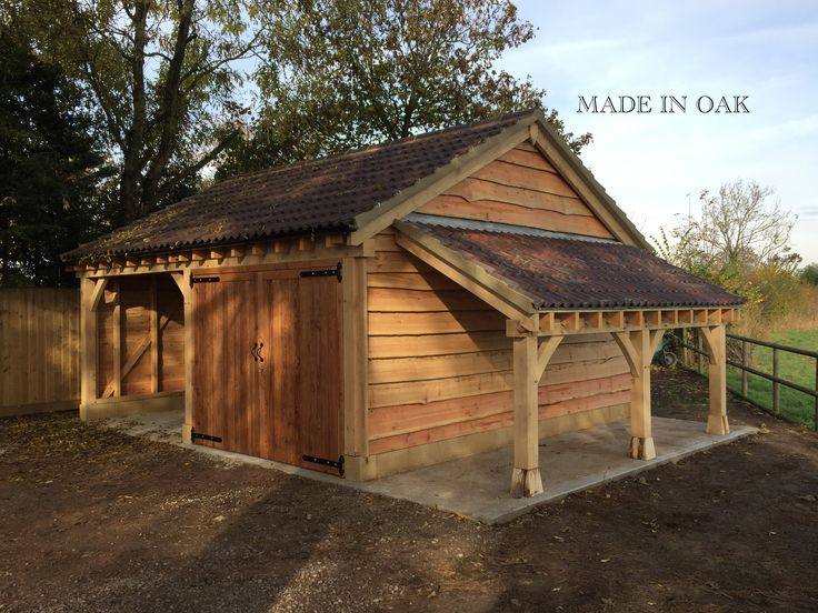 Made In Oak 2 Bay Garage With Lean To Log Store Shed In 2019 Log Shed Timber Garage Oak