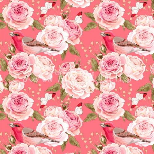 Růže s ptáčkem - digi tisk