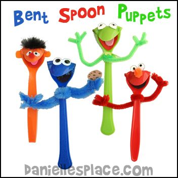 Plastic Spoon Puppet Craft - Puppest made from Bent Plastic Spoons from www.daniellesplace.com