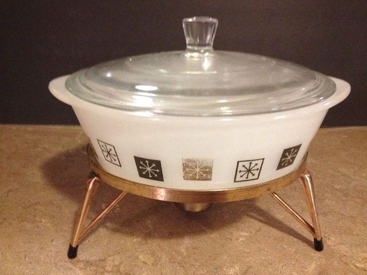 Mid-Century Modern Inland Glass Atomic Starburst Chafing Dish & Warming Stand   #InlandGlass