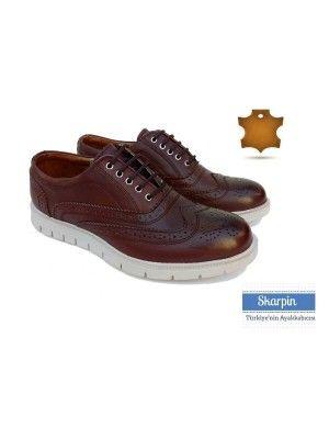Deri Kahverengi Beyaz Eva Tabanlı Ayakkabı HKE173789 Skarpin Ayakkabı #deri #erkek #ayakkabı #erkek #moda #leather #dappered #kombin #skarpin