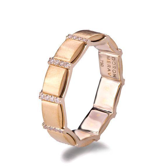 Gold und Diamanten Hochzeitsband, zwei Ton Ehering, zwei Ton-Ehering Memoirering, Breitband, einzigartigen Trauring, R015