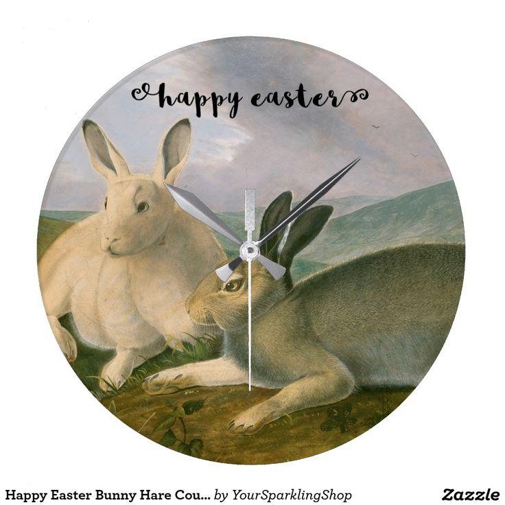 Happy #Easter Bunny Hare Couple #Watercolor Vintage #WallClock